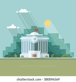 City landscape. municipal building, Hall, the Government, the court on the background. Construction public institution. Flat vector illustration.
