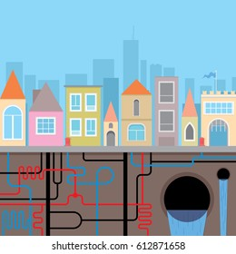 City landscape. Municipal pipe service. Urban heating system, underground water pipes and sewage. Pipes scheme and soil cross section. Vector illustration