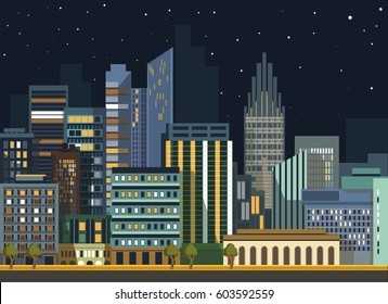 City landscape night view. Vector flat detailed skyline or panorama illustration. Modern urban living and office buildings street district architecture of skyscraper houses