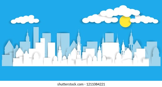City landscape in paper cut art style. Vector illustration EPS10
