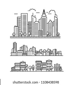 City landscape pattern. Thin line City landscape. Vector