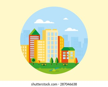City landscape with playground in front of it concept flat illustration.