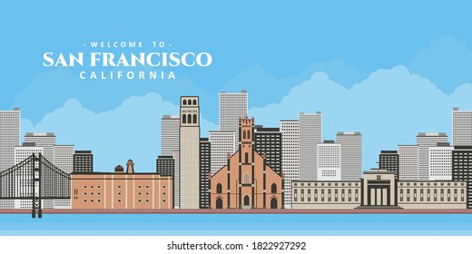 City landscape of San Fransisco. Aerial panoramic view with landmark. Federal Reserve Bank, Coit Tower, St. Patrick's Church, Golden Gate National Park Conservancy. Best destination for tourist trip