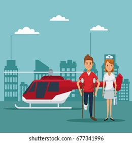 city landscape scene building hospitals with ambulance and helicopter flying overhead closeup specialist doctors