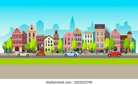 City landscape set with buildings, shop and stores, transport, vector illustration. Spring town.Vector illustration.
