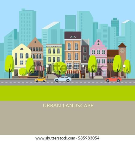 City landscape set with