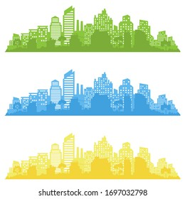 City landscape. City silhouette with windows. Vector Illustration