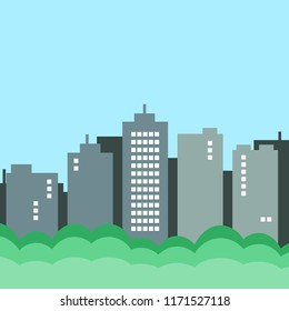 city landscape with skyscraper and buildings; green urban concept.