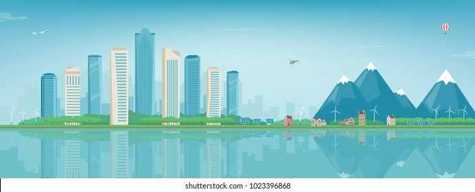 City landscape and suburban landscape. Building architecture, cityscape town. Modern city and suburb. Concept website template. Vector illustration