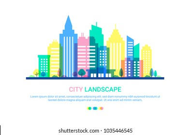 City landscape template. Flat style illustration in punchy pastels colors. Colored Buildings on white background. Cityscape background in pastel colors. Urban life. Vector illustration.