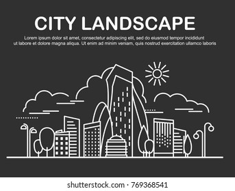 City landscape template. Linear graphic concept, website design elements of Urban Landscape. Line art style for web, advertising, banner, poster, flyer, board. Vector Illustration