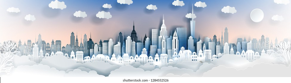 City landscape template. Paper city landscape. Downtown landscape with high skyscrapers. Panorama architecture Goverment buildings. Urban life Vector illustration. Origami and travel concept,paper art