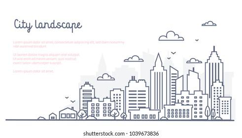 Шаблон городского ландшафта. Тонкая линия городской пейзаж. Центр города пейзаж с высокими небоскребами. Панорама архитектуры Говермент зданий Изолированный контур иллюстрации. Иллюстрация о городской жизни