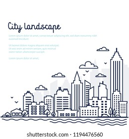 City landscape template. Thin line City landscape. Downtown landscape with high skyscrapers. Panorama architecture Goverment buildings Isolated outline illustration. Urban life Vector illustration