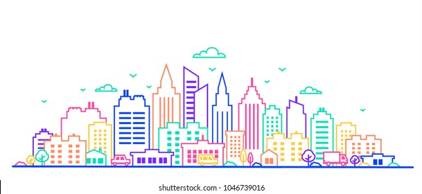 City landscape. Thin line City landscape in neon glow vivid colors.. Downtown landscape with high skyscrapers. Panorama architecture Goverment buildings Isolated outline illustration. Urban life
