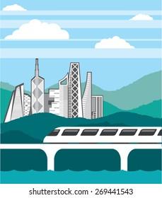 City landscape Train bridge vector