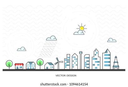 city landscape, vector design . outline illustration