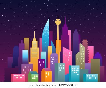City landscape vector illustration. Modern downtown landscape with skyscrapers. City panorama