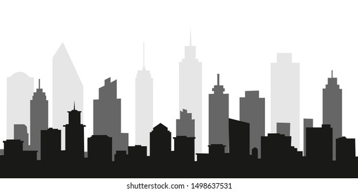 city landscape. vector illustration. Panorama urban modern city landscape with high skyscrapers.