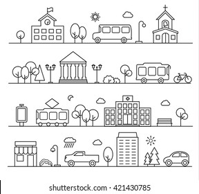 City landscapes set in linear style. With buildings, city transport, cars, bike, street lamps, trees,  bushes, shop etc., vector illustration