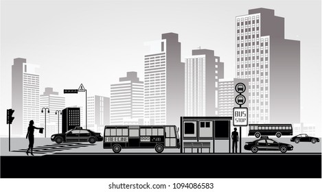 City life in black and white colors. Vector Big city panorama future people walking car taxi bus stop traffic Building architecture landscape  illustration
