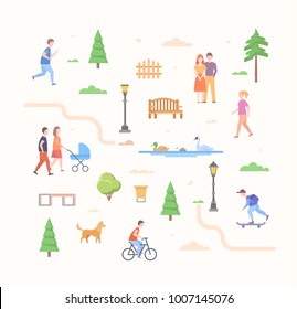 City life constructor - set of modern flat design style elements isolated on light background. Trees, lanterns, benches, skater, running, cycling boy, couples, walking girl, bin, gate, road, cloud