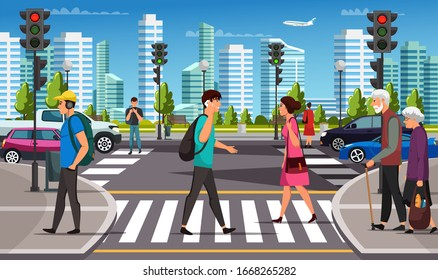 City life. Crosswalk with traffic lights. Car, pedestrian crossing road over urban background. Young man and woman, teenager, elderly couple, businessman with phone moving by road. Vector illustration