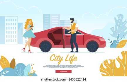 City Life Horizontal Banner. Young Handsome Man Open Car Door Inviting Adorable Woman with Little Dog to Come in. Loving Couple Having Dating, Love, Leisure Spare Time Cartoon Flat Vector Illustration