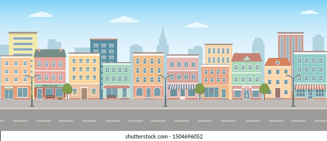 City life illustration with house facades, road and other urban details.  Panoramic view. Flat style, vector illustration.