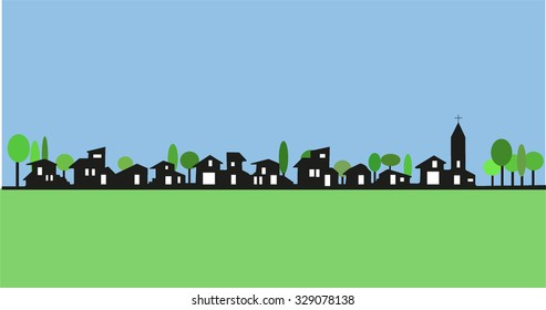 City life. Illustration of a little town: architectural building and urban space with trees, field and church in panoramic view as vector.