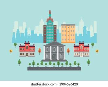 city life megalopolis cityscape scene with governmental building vector illustration design