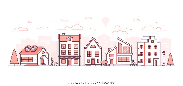 City life - modern thin line design style vector illustration on white background. Red colored high quality composition, landscape with facades of different buildings, shop, lantern, people walking