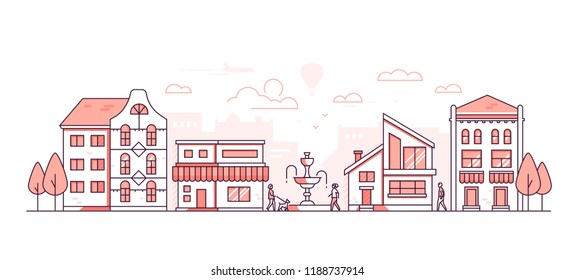 City life - modern thin line design style vector illustration