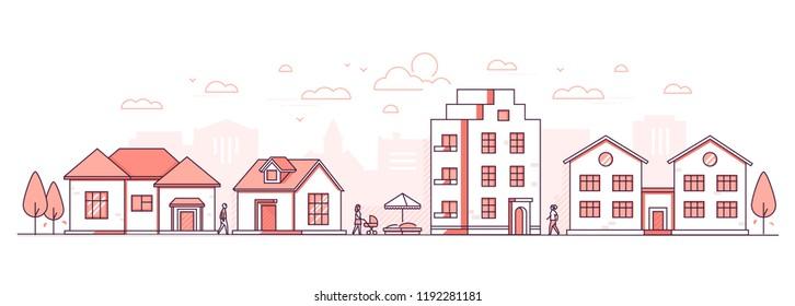 Byliv - moderne tynn linje design stil vektor illustrasjon på hvit bakgrunn. Rødfarget høy kvalitet sammensetning, landskap med fasader av bygninger, hyttehus, sandkasse, folk går