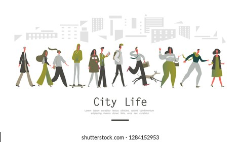 City life, pedestrians men and women walk along a city street, a set of people of different ages Group of male and female flat cartoon characters isolated on white background. Vector illustration