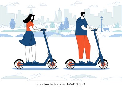 City life. People on scooters. Eco transport. Cartoon couple riding scooters in park. Banner vector illustration. Girl and boy transporting around town and having tour. Spending free time together - Shutterstock ID 1654437352