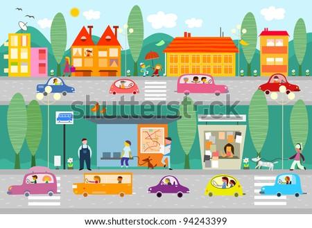 City Life Scene Bus Stop Vecto...