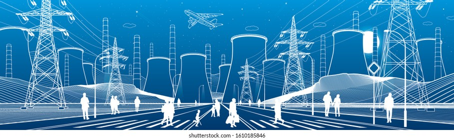 City life scene. Energy illustration. Thermal power plant. Factory pipes. Power line. Illuminated higway. People walking. Infrastructure urban panorama. Vector design art