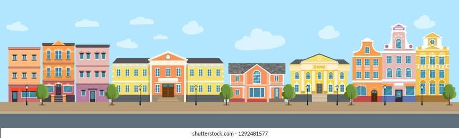 City life set buildings. City street panoramic. Vector flat style illustration.