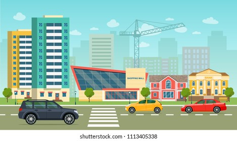 City life set with cars, road, buildings. City street panoramic. Vector flat style illustration.