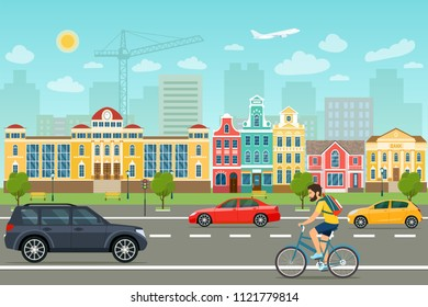 City life set with cars, road and buildings. City street panoramic. Vector flat style illustration.