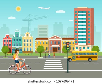 City life set with school bus, road, buildings and crosswalk. City street panoramic. Vector flat style illustration.