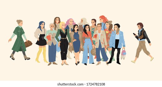 City life style women. A large set of different women in summer and autumn clothes. Vector illustration of characters on a plain background.