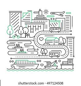 City life - vector modern plain line flat design composition with cityscape