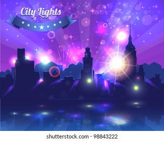 City Lights Landscape Night Vector Design