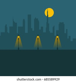 City lights. Night city with the moon and lamps.