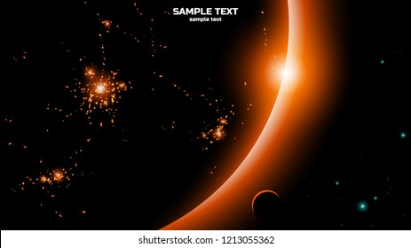 city lights seen from space on dark planet, vector illustration background