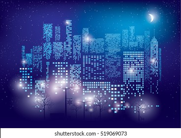 City Lights. Vector illustration of city with lighting windows, the moon, trees, lamps and benches in autumn time. Holidays concept.