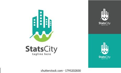City logo design combined statistics. vector