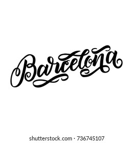 City logo isolated on white. Black label or logotype. Vintage badge calligraphy in grunge style. Great for t-shirts or poster. Barselona, Spain